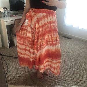 Tie-dye Faux Wrap Maxi Skirt